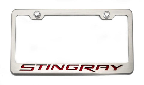 "2014-2019 Corvette Stingray - License Plate Frame with ""Stingray"" Lettering American Car Craft"