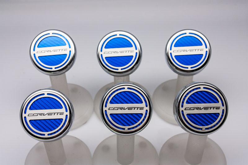 "2014-2019 Manual Z06/Z51/C7 Corvette Stingray - Fluid Cap Cover 6Pc Set With ""Corvette"" Lettering American Car Craft"