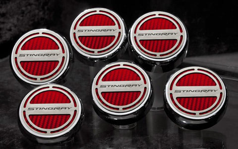 "2014-2019 Manual Z06/Z51/C7 Corvette Stingray - Fluid Cap Cover 6Pc Set With ""Stingray"" Lettering American Car Craft"