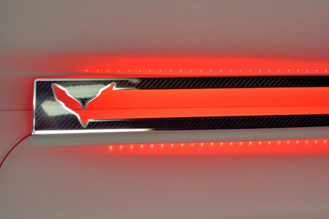 2014-2019 Z06/C7/Z51 Corvette Stingray - Illuminated Carbon/Fiberglass Door Sill Overlays With Stainless Steel Trim