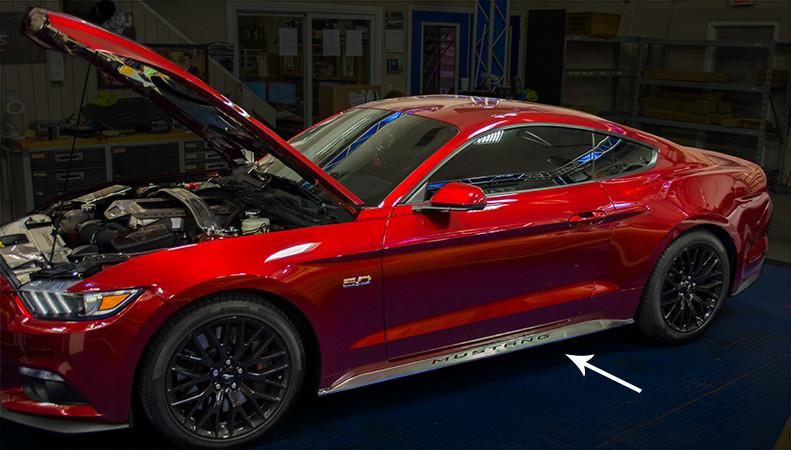 2015-2016 Mustang - Side Skirt Overlays Brushed Stainless w/Polished Mustang Letters American Car Craft