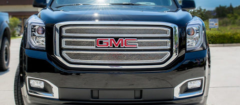 2015-2017 GMC Yukon - Front Grille Overlay Kit | Polished Laser Mesh Stainless Steel