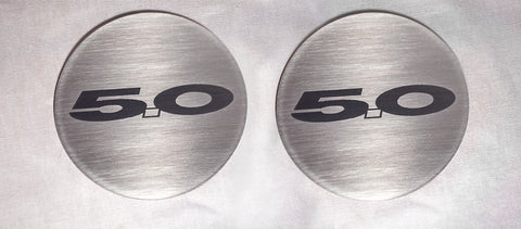 2015-2020 Mustang GT - '5.0' Cup Holder Accent Plates 2Pc | Brushed Stainless Steel