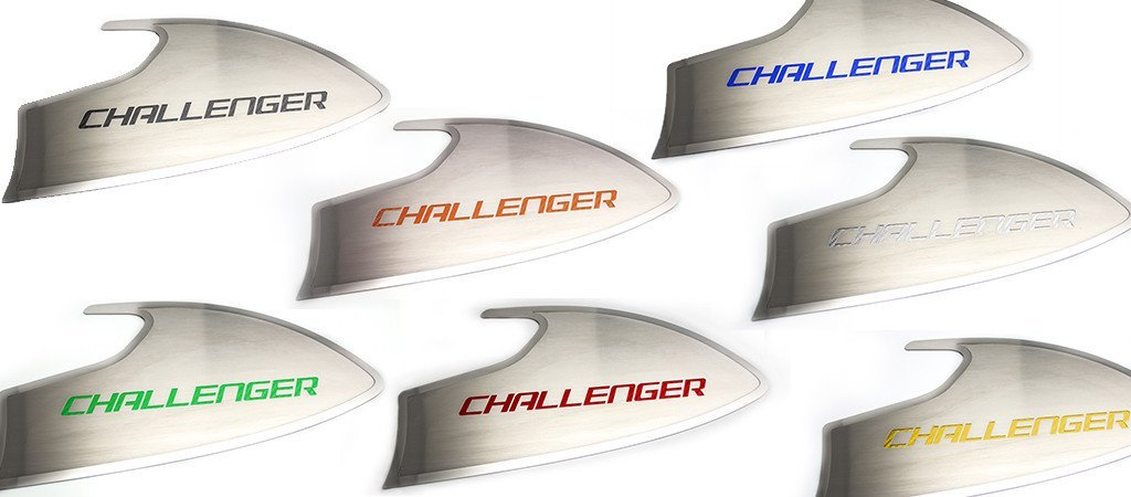 "2015-2018 Dodge Challenger - Door Badges Brushed ""CHALLENGER"" Style 2 pc Choose Color American Car Craft"