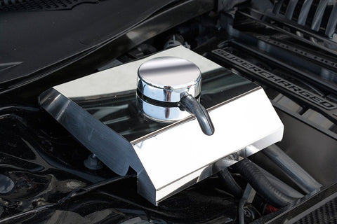 2015-2019 Dodge HELLCAT - Supercharger Coolant Tank Cover w/Chrome Cap | Polished Stainless Steel