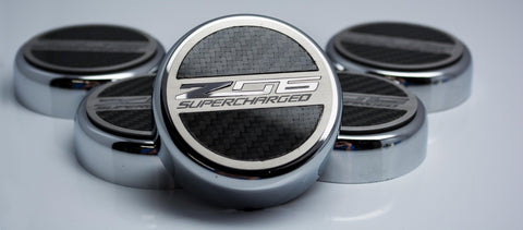 2015-2019 Chevrolet Corvette Z06 - 'Z06 SUPERCHARGED' Fluid Cap Cover Set | Carbon Fiberglass