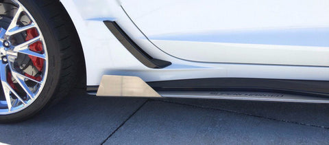 2015-2019 Corvette Z06 - Side Skirt Extension Fins (plain - no colored inlay lettering). American Car Craft