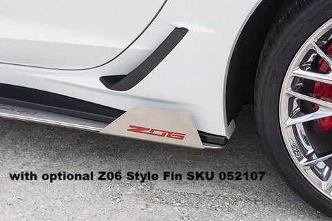 2015-2019 Corvette Z06/Grand Sport - Side Skirt Extensions w/Polished Supercharged Inlaid Lettering American Car Craft