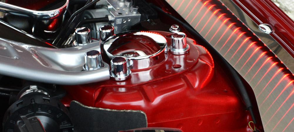 2015-2020 Mustang - Shock Tower Dome Covers | Polished Stainless Steel & Chrome Bolt Covers American Car Craft