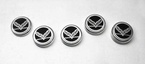 2016-2019 Grand Sport Corvette - Fluid Cap Cover Set w/Crossed Flags & Grand Sport | Choose Color & Transmission Type
