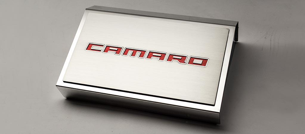 2016-2018 Camaro | Camaro Fuse Box Cover with Brushed Top Plate ''Camaro Style'' American Car Craft