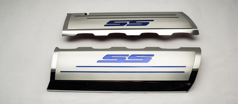 2016-2019 V8 SS Camaro - Fuel Rail Covers & 'SS' Top Plates | Stainless Steel, Choose Color Inlay
