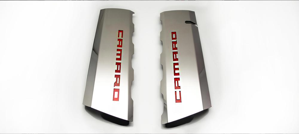 2016-2019 V8 SS Camaro - Fuel Rail Cover Overlays w/CAMARO Cutout 2Pc | Polished Stainless Steel American Car Craft