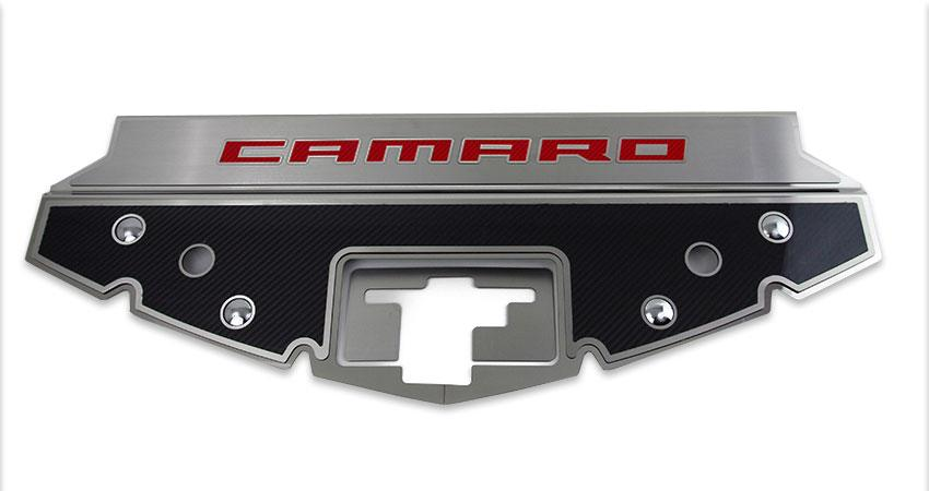 2016-2020 Camaro - Carbon Fiber Front Header Plate CAMARO Style | Choose Color Inlay American Car Craft