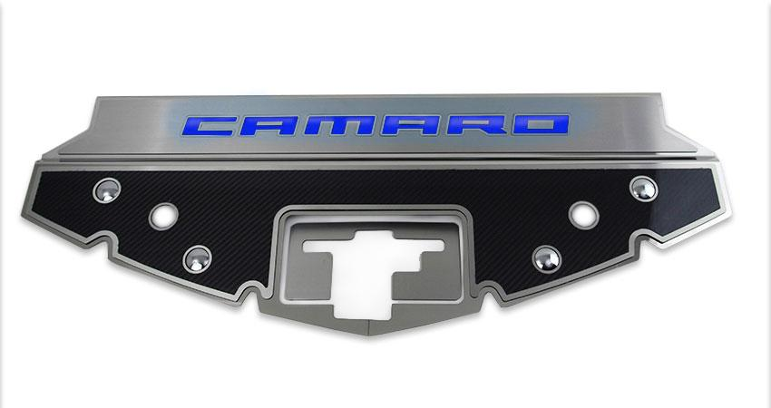 2016-2020 Camaro - Illuminated Carbon Fiber Front Header Plate CAMARO Style | Choose LED Color American Car Craft