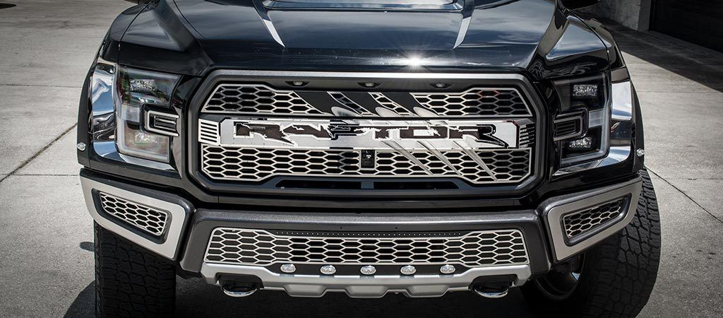 2017-2018 Ford Raptor - Center Grille Raptor Logo With Raptor Slash and Optional Lighting American Car Craft