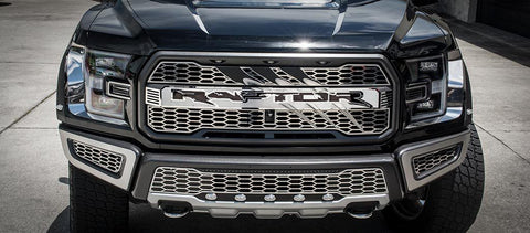 2017-2018 Ford Raptor - Center Grille RAPTOR Logo with Claw Slash | Optional Lighting Kit