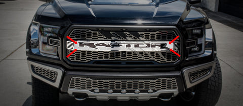 2017-2018 Ford Raptor - Center Grille Raptor Logo With Raptor Slash and Optional Lighting