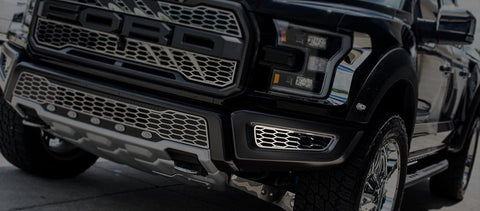 2017-2018 Ford Raptor - Front Lower Bumper Leaf Grilles 2Pc | Premium Stainless Steel, Choose Finish