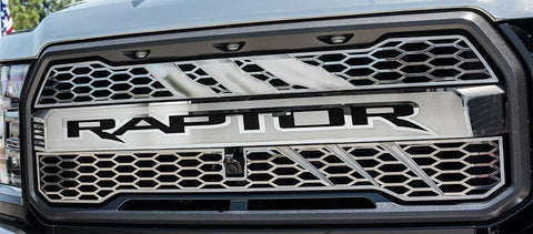 2017-2018 Ford Raptor - Front RAPTOR Logo Center Grille 1Pc | Stainless Steel & Durable ABS Lettering