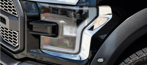 2017-2018 Ford Raptor - Headlight Trim | Stainless Steel, Choose Finish