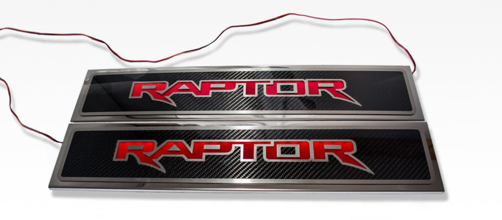"2017-2018 Ford Raptor - Illuminated ""Raptor"" Doorsills Carbon Fiber 2Pc Front American Car Craft"