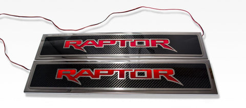 "2017-2018 Ford Raptor - Illuminated ""Raptor"" Doorsills Carbon Fiber 2Pc Front"