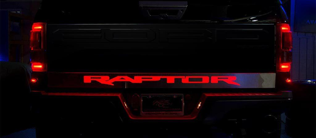 "2017 - 2018 Ford Raptor Light Up ""Raptor"" Tailgate Rocker Panel American Car Craft"