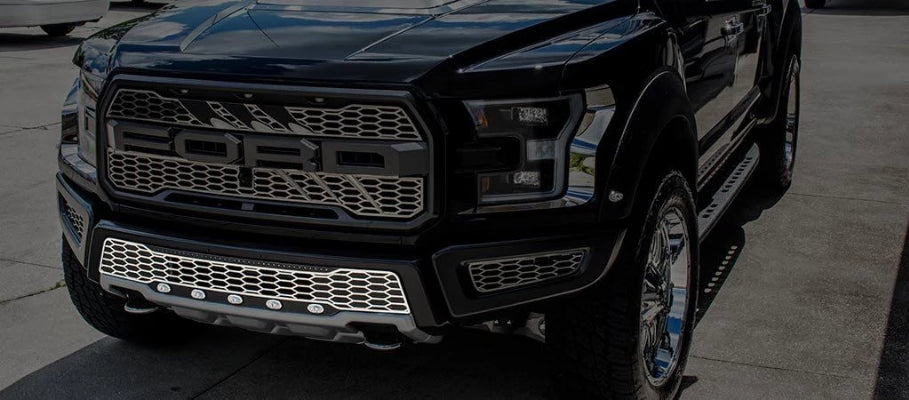 2017-2018 Ford Raptor Lower Grille Replacement with Lights American Car Craft