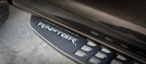 2017-2019 Ford Raptor - Running Board 'RAPTOR' Emblems 2Pc | Brushed Stainless Steel