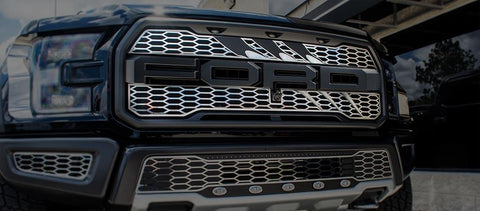 2017-2018 Ford Raptor - Slash Style Upper Grille Overlays 2Pc | Stainless Steel, Choose Finish