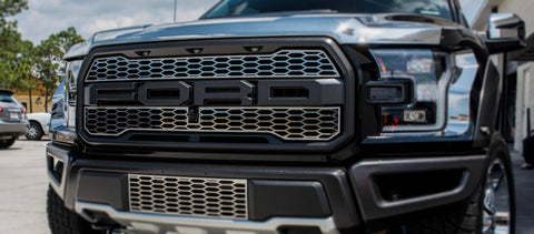 2017-2018 Ford Raptor - Upper Grille Overlays | Premium Stainless Steel, Choose Finish