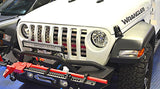 2018-2020 Jeep Wrangler JL - Front Grille American Flag w/Thin Line | Brushed Stainless, Choose Color American Car Craft