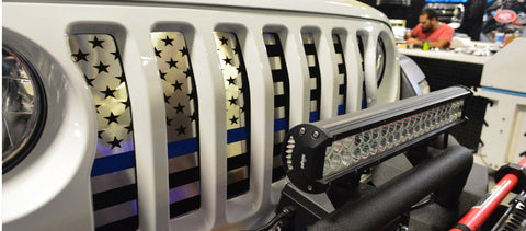2018-2020 Jeep Wrangler JL - Front Grille American Flag | Brushed Stainless, Choose Line Color
