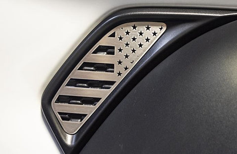 2018-2020 Jeep Wrangler JL/JLU - Side Vent Accents Flag w/Color Insert 2Pc | Stainless, Choose Color & Finish American Car Craft