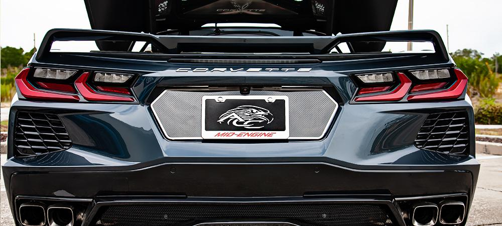 2020-2021 C8 Corvette - Carbon Fiber Tag Back | Carbon Fiber w/Stainless Steel Trim American Car Craft