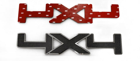 4x4 Black ABS Emblem with Stainless Steel Trim 2Pc  | Choose Trim Finish