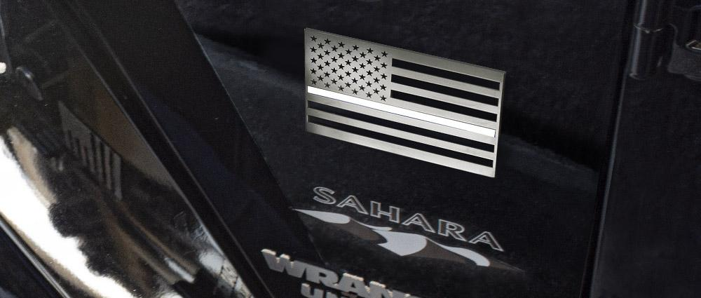 American Flag Emblem 1 or 2 Piece Set | Stainless Steel, Choose Finish American Car Craft