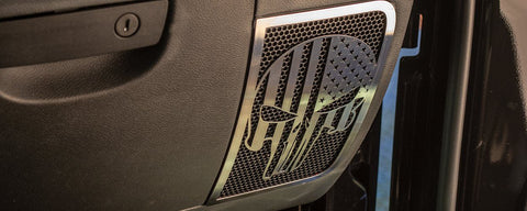 2007-18 Jeep Wrangler JK/JKU - American Pride Patriot Skull Speaker Grilles 2Pc | Choose Finish