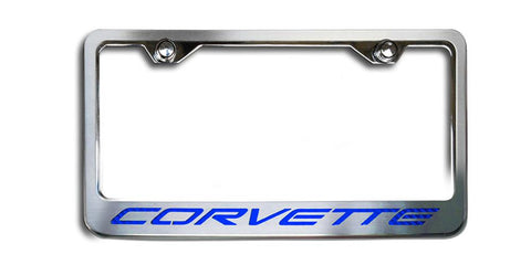 C5 Corvette License Plate Frame w/CORVETTE Inlay | Brushed Stainless, Choose Color Inlay