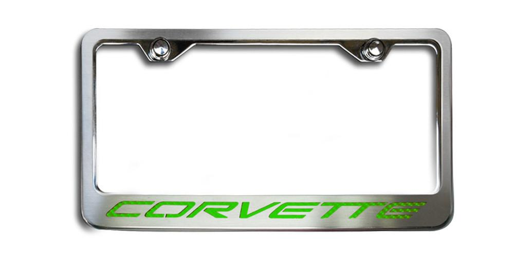 "C5 Corvette License Plate Frame with ""CORVETTE"" Lettering American Car Craft"