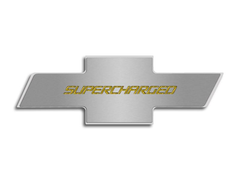 "Camaro 2010-2015 - Hood Badge ""Supercharged"" Emblem for Factory Pad American Car Craft"