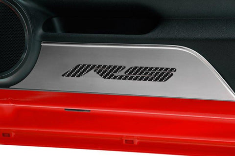"Camaro Door Panel Kick Plates Brushed w/Carbon Fiber ""RS"" 2Pc 2010-2015 American Car Craft"