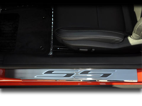"Camaro Doorsills Brushed/Polished w/Carbon Fiber ""SS"" 2Pc Outer 2010-2015"