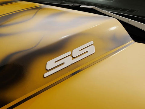 "Camaro Exterior ""SS"" Stainless Steel Badge Set Brushed  2Pc"