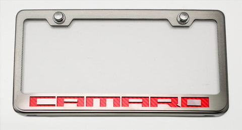 "Camaro License Plate Frame with ""Camaro"" Lettering American Car Craft"