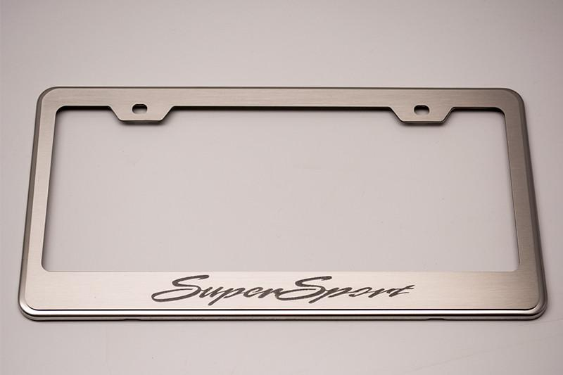 "Camaro License Plate Frame with ""Super Sport"" Etched American Car Craft"
