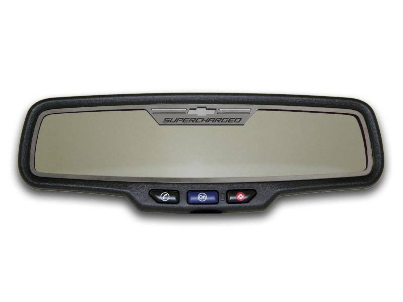 "Camaro Rear View Mirror Trim ""SUPERCHARGED"" Style Brushed 2012-2013 Rectangle American Car Craft"