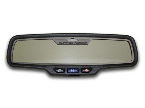 "Camaro Rear View Mirror Trim ""SUPERCHARGED"" Style Brushed 2012-2013 Rectangle"