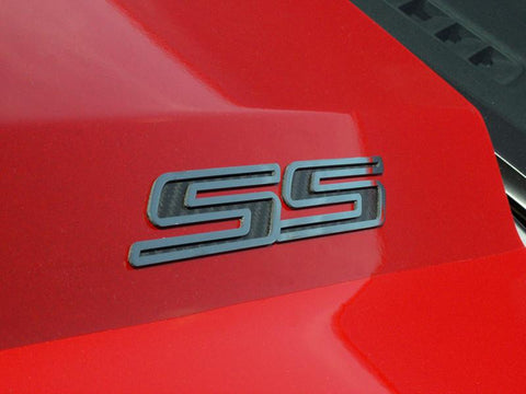 Camaro SS Emblems in Polished Stainless Steel and Faux Carbon Fiber 2Pc